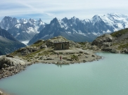 Hiking round stunning lakes in the Alps